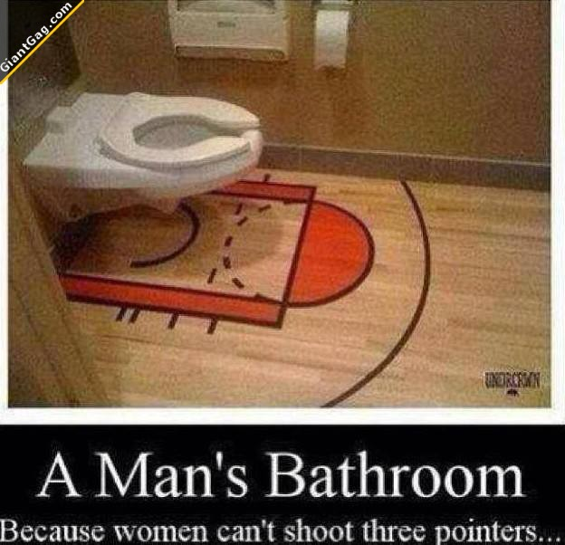 Man's Bathroom Because Women Can't Shoot Three Pointers