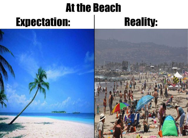 At The Beach, Expectation Vs Reality