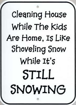Cleaning House While The Kids Are Home, Is Like Shoveling Snow While It's Snowing