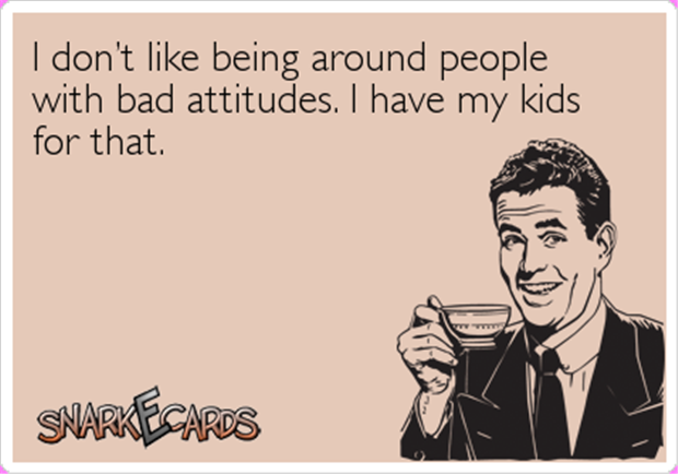 I Don't Like Being Around People With Bad Attitudes, I Have My Kids For That