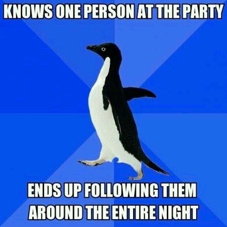 Knows One Person At The Party, Ends Up Following Them Around The Entire Night