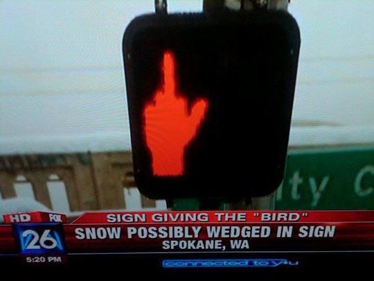 Middle Finger Traffic Sign