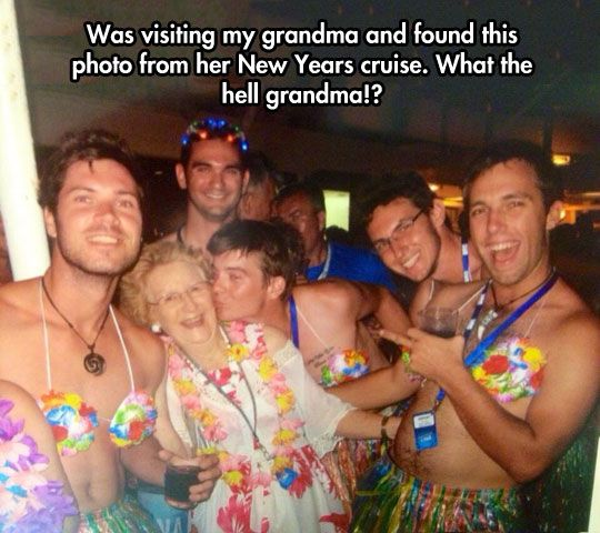 My Grandma New Years Cruise Photo. What The Hell ?