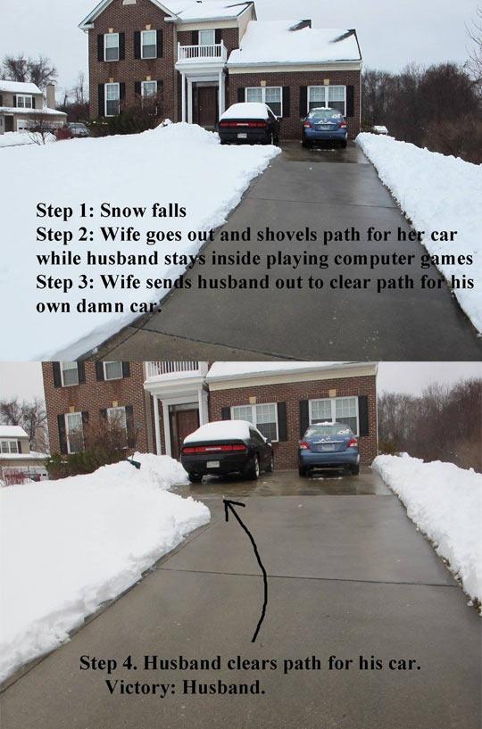 Wife Vs Husband Snow Shoveling