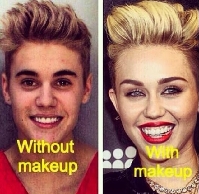 Justin Bieber With Makeup Vs No Makeup
