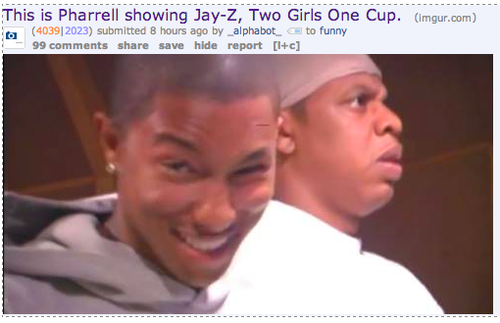 Pharell Showing Jay-Z Two Girls One Cup