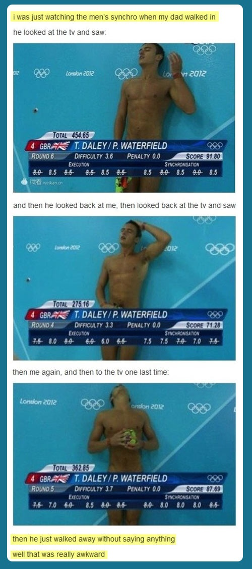 I Was Watching The Men Synchro When My Dad Walked In